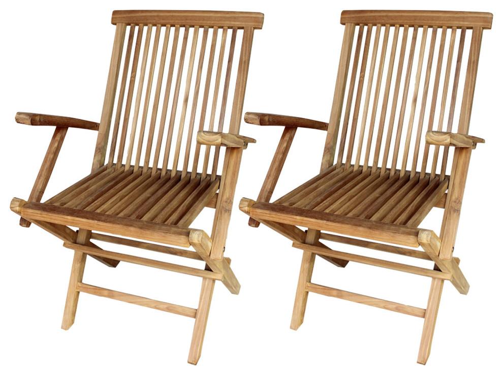vidaXL Set of 2 Teak Garden Chairs, 55x60x89 cm ...