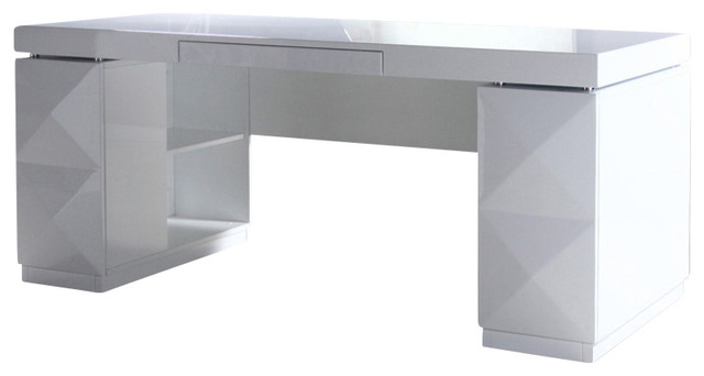 Marvelous Modern White Lacquer Office Desk