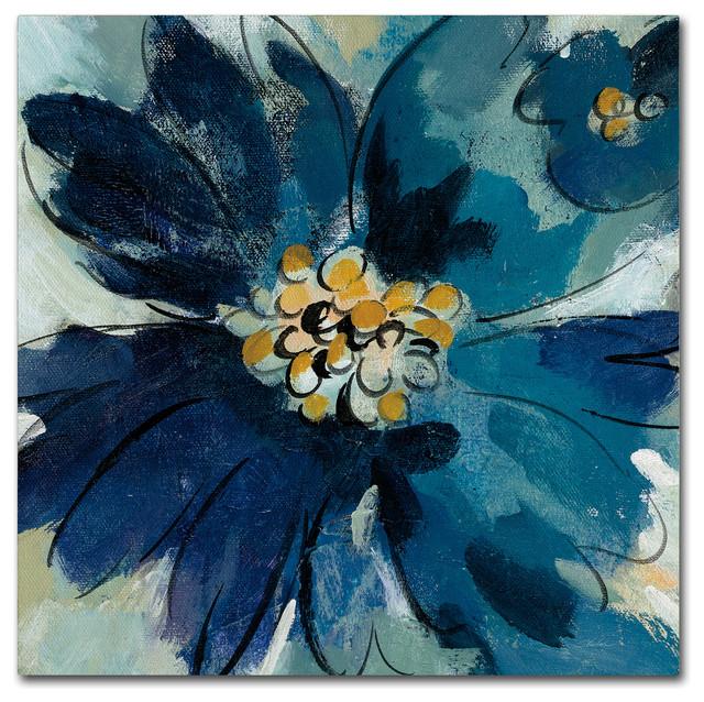 "Silvia Vassileva &x27;inky Floral Iii&x27; Canvas Art, 24"" X 24""."
