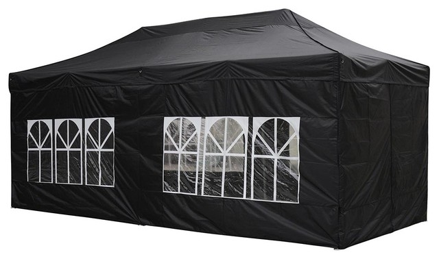 10x20 EZ Pop Up Folding Market Wedding Party Tent Outdoor With Sidewall Black Contemporary