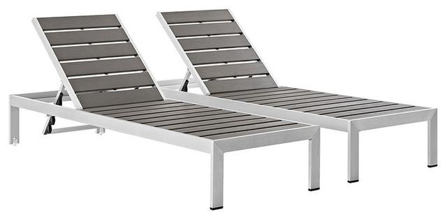 Shore, Set Of 2 Outdoor Patio Aluminum Chaise.