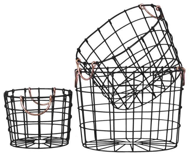 Round Nesting Wire Basket With 2 Handles Black 3 Piece Set Baskets