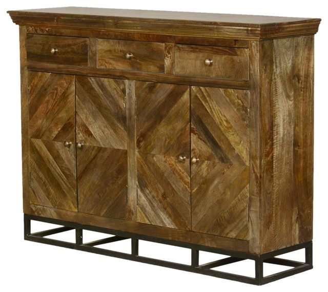 Parquet Diamond Mango Wood Sideboard Buffet Cabinet  Contemporary Buffets And Sideboards