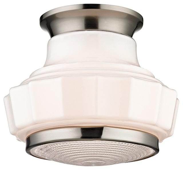 Hudson Valley Odessa 1-Light Semi Flush, Satin Nickel - 3809f-Sn.