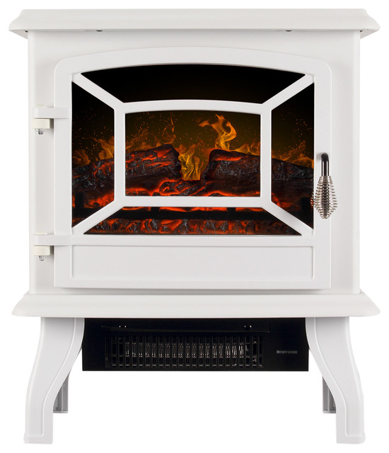 "17"" Portable Electric Stove Fireplace, White"