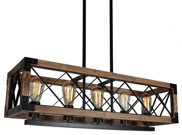 Vanity Light Wood Metal With Punched Tin Lamp Shades: Rustic 5-Light Rectangle Metal/Wood Linear Chandelier