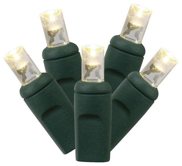 100-Light Led Warm White/green Wire Wide Angle End Connecting Set 34&x27;.