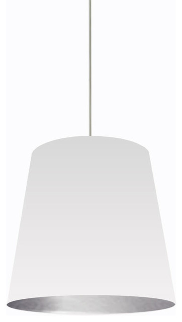 Rochelle Oversized Drum Pendant Light White And Silver