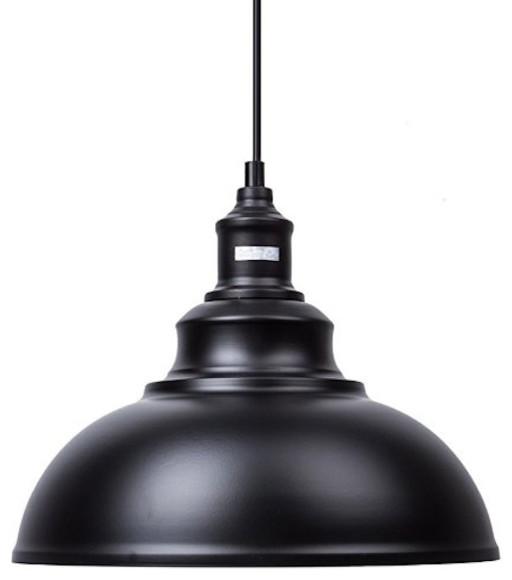 Industrial Style 1 Light Pendant Light, Black.