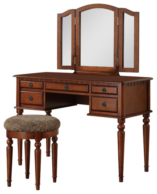 Casual Walnut Finish Vanity Mirror And Stool Set Traditional Vanity Stools And Benches By