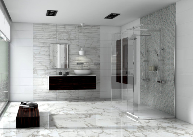 Carrara Marble Bathroom Frameless Shower modern-bathroom