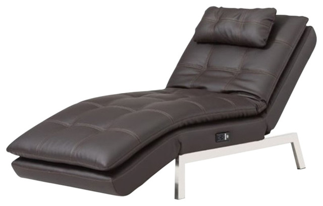 Admirable Pemberly Row Faux Leather Convertible Chaise Lounge In Brown Forskolin Free Trial Chair Design Images Forskolin Free Trialorg