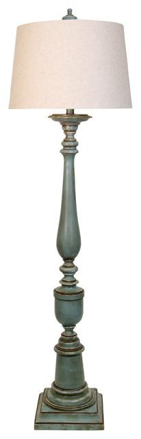 Avignon Floor Lamp, Blue Finish, White Hardback Fabric Shade.