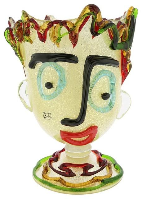 Murano Glass Picasso Head Vase Tall Eclectic Vases By