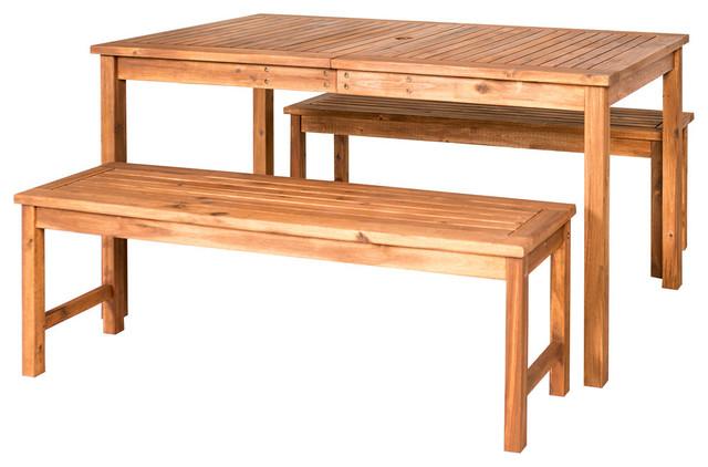 Acacia Wood Simple Patio 3-Piece Dining Set, Brown