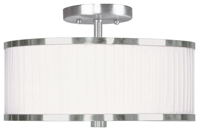 Livex Lighting 2-Light Brushed Nickel Ceiling Mount.