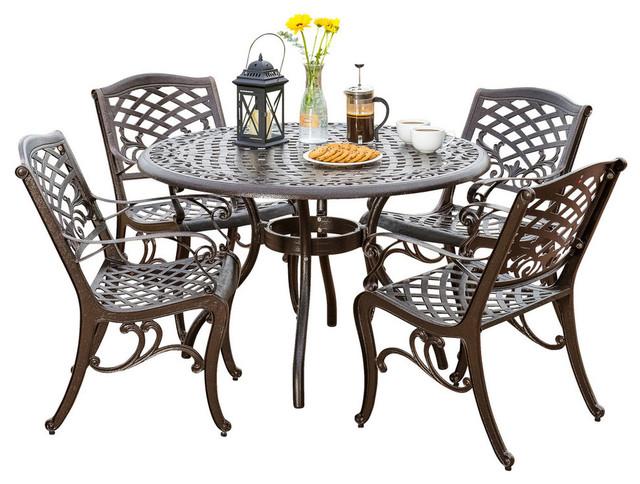 5-Piece Covington Outdoor Cast Aluminum Dining Set