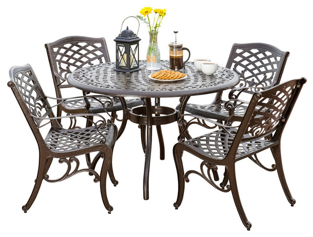 Covington Sarasota Traditional Outdoor 4 Seater Cast Aluminum Dining Set