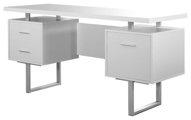 "Computer Desk, 60"", White/silver Metal."