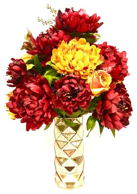 Cool Tall Floral Arrangement Centerpiece Peony Hydrangea Red Gold Mercury Glass 24 Interior Design Ideas Clesiryabchikinfo