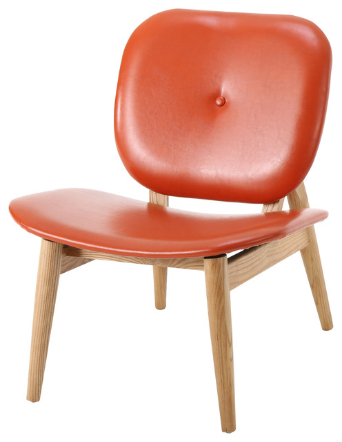 Betop burnt orange leather accent chair midcentury for Burnt orange accent chair