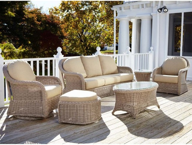 All Products Outdoor Furniture Anacara Mariner Driftwood Weather Wicker Conversation Set Multicolor An203