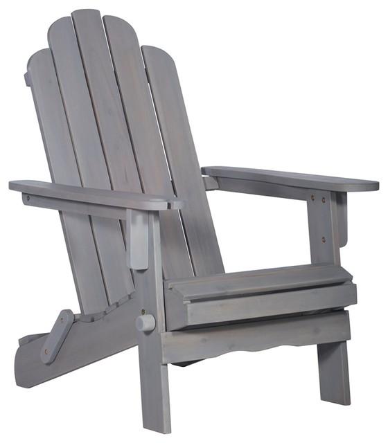 Patio Wood Adirondack Chair   White Wash   Transitional   Adirondack Chairs    By Homesquare