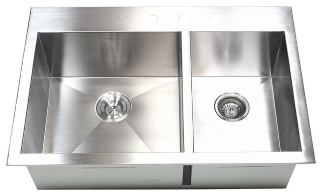 """33"""" Top-Mount/Drop-In Stainless Steel 60/40 Double Bowl"""
