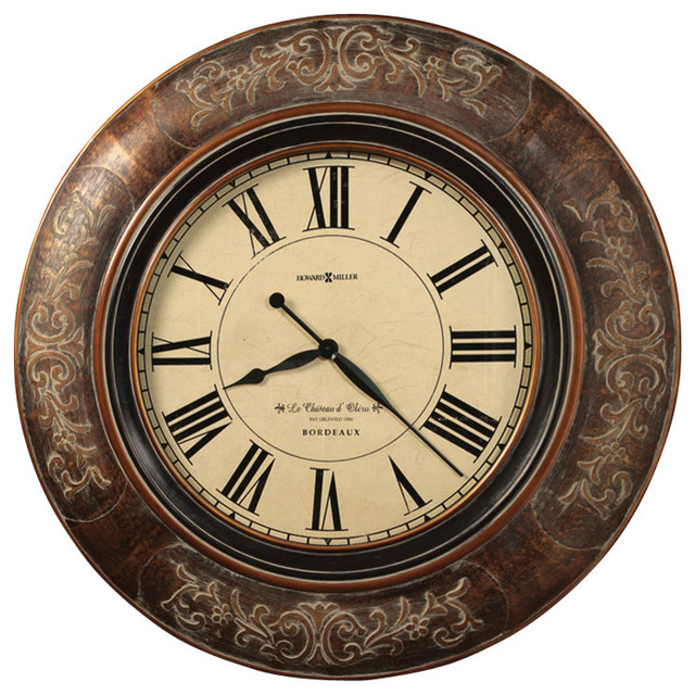 """Howard Miller 37-1/4"""" Large Brown Wall Clock, Le Chateau"""