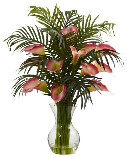 Calla Lily And Palm Combo Tropical Artificial Flower