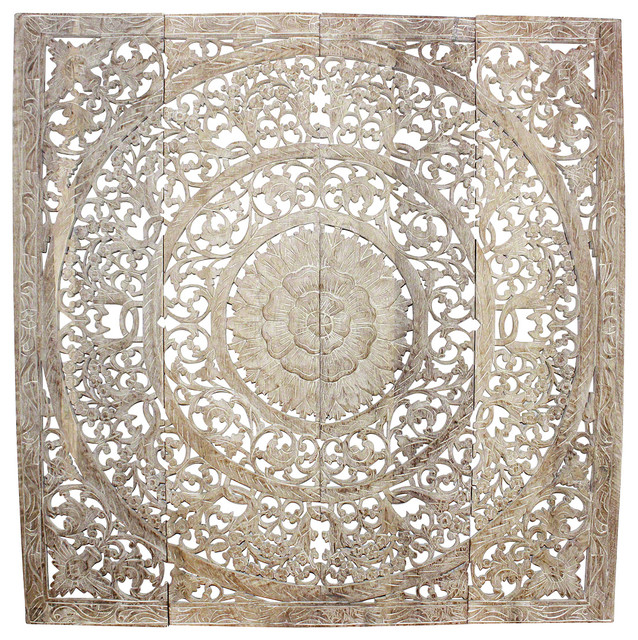 Lotus Wall Panel 3d Recycled Teak, White Stain Sand Wash/natural Wax Finish.