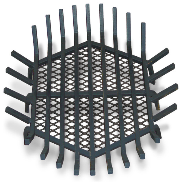 Round Fire Pit Grate Welded Steel Contemporary Fireplace