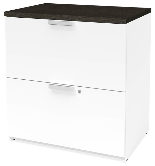 Lateral File Cabinet White And Deep Gray