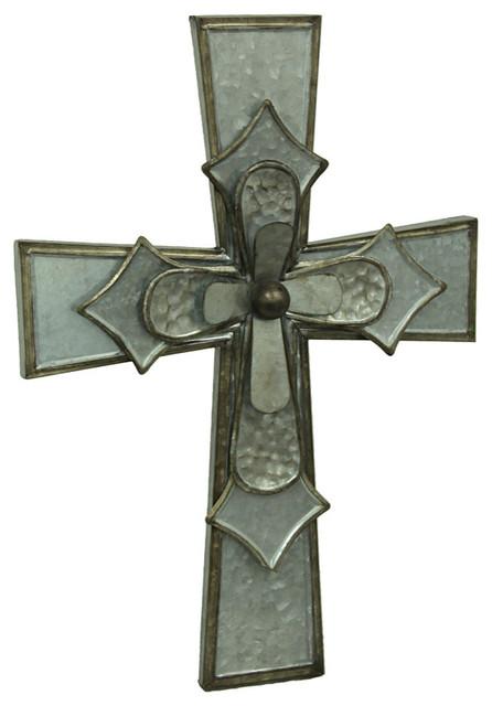Galvanized Layered Giant Metal Wall Cross.