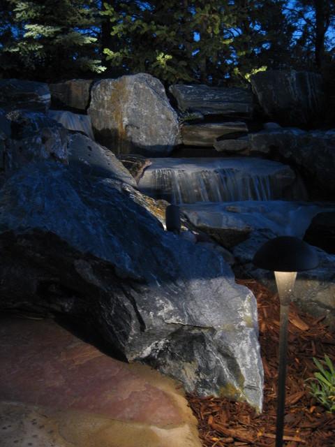 Backyard Mountain Waterfall Stone Fire Pit