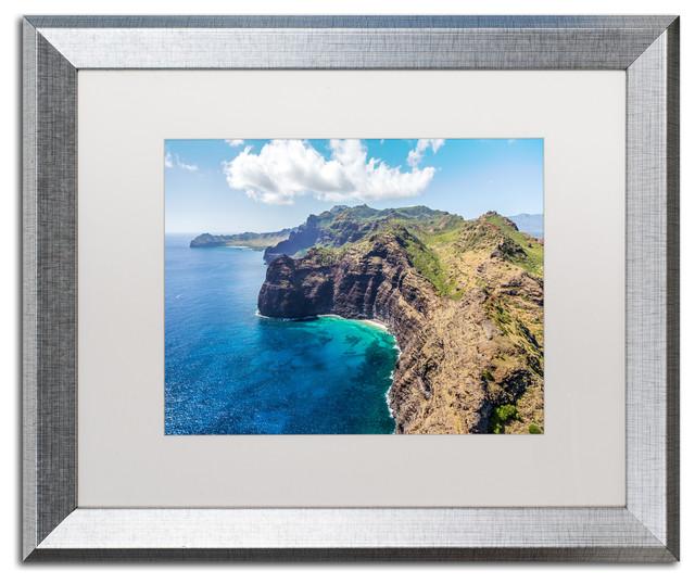 Pierre Leclerc &x27;kauai Coast&x27; Matted Framed Art, Silver Frame, White, 20x16.