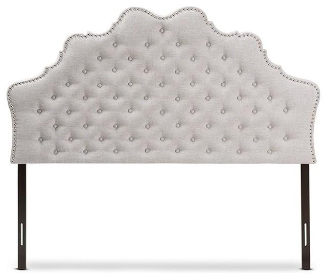 Hilda Modern And Contemporary Grayish Beige Fabric Full Size Headboard.