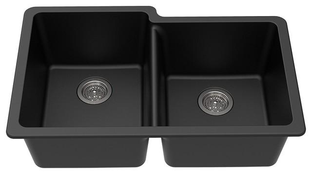 """Winpro Dual-Mount Kitchen Sink, Offset Double Bowl, Granite Quartz, Black, 33"""""""