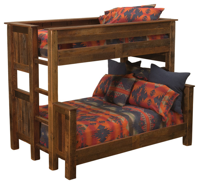 Barnwood Queen Single Ladder Right Bunk Bed Rustic Beds