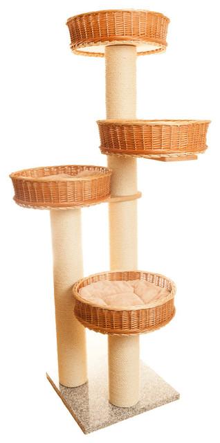 Luxury tall cat climbing frame wicker penthouse cat for Designer cat beds uk