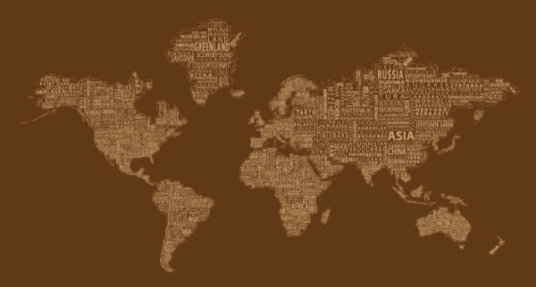 World Text Map Wall Decal Brown Mono Modern Wall Decals By - World map wallpaper decal