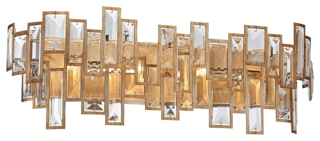 Bathroom Light Fixtures In Gold bel mondo crystal 4-light wall sconce, luxor gold - contemporary