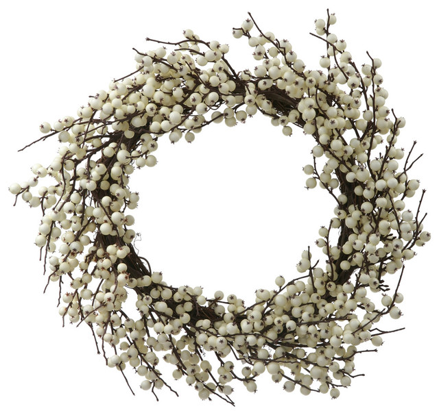 "28"" Indoor and Outdoor Berry Wreath, White"