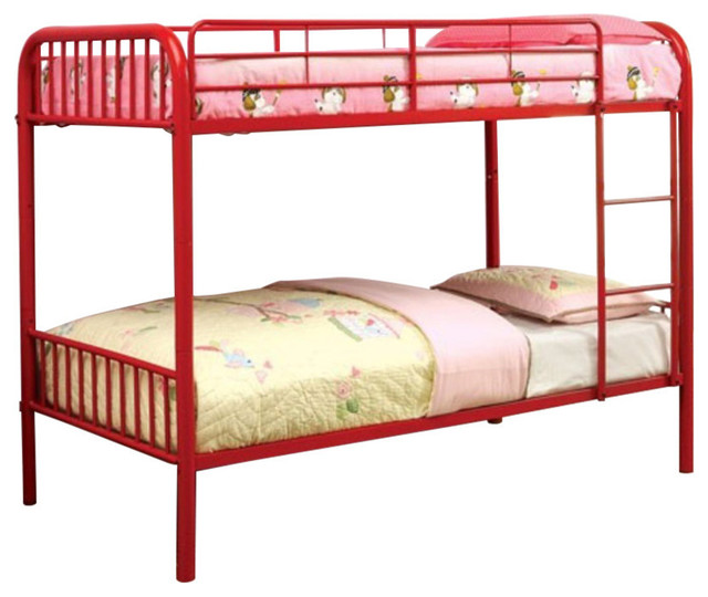Metal Twin/twin Bunk Bed, Red.