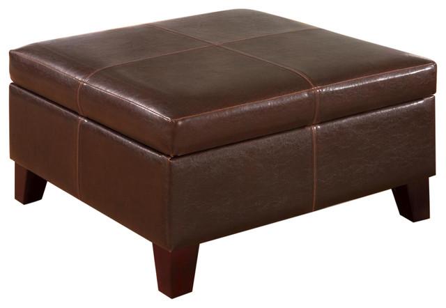 Coaster Contemporary Square Faux Leather Storage Ottoman