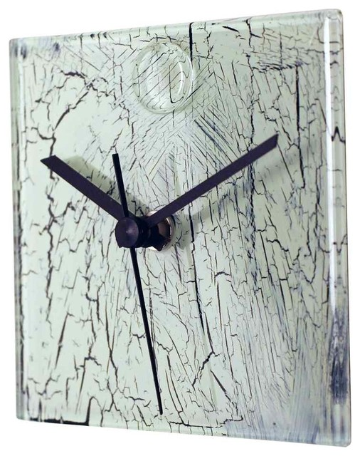Square Glass Wall Clock in White Contemporary Wall Clocks by