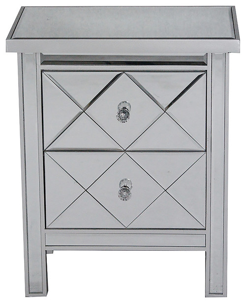 Wood Tall Chest Accent Cabinet With 2 Glass Drawers, Silver