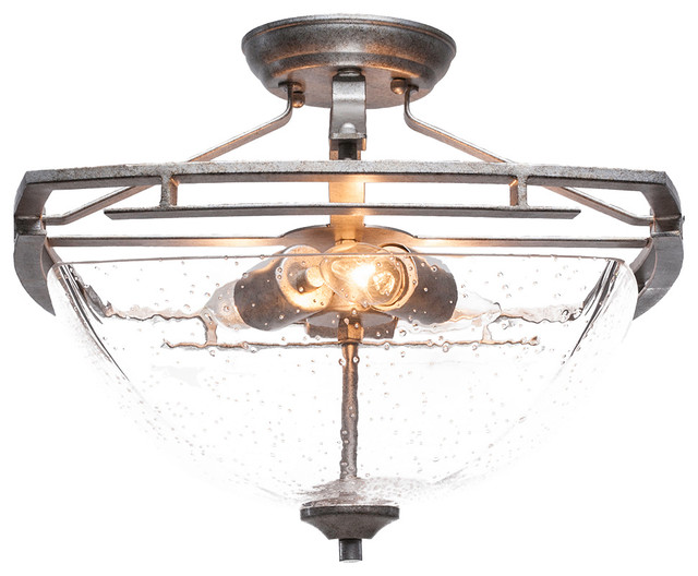 Uptowne 3-Light Semi-Flush Mount Aged Silver Clear Bubble Glass.