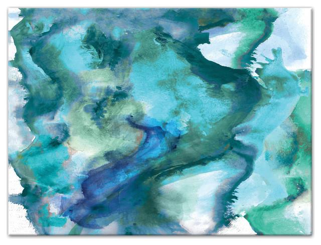 "Watercolor Waves Canvas Wall Art, 40""x30"", Unframed."