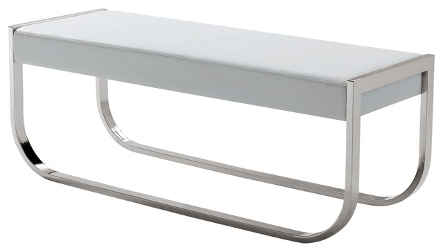 Bellagio White Eco-Leather Bench. -1